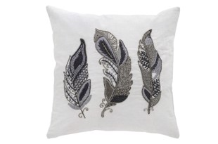 Embroidered feather pude 50x50 cm  i farven platin antik silver fra Cozy Living